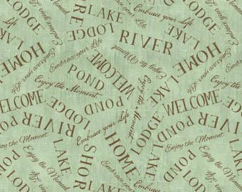Lakeside Retreat Green Words from Wilmington Prints by the yard