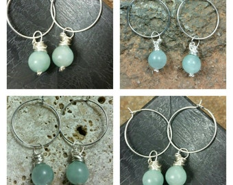 Amazonite Wrapped Hoop Earrings/Boho/Minimalist