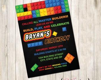 Building Block Invite, Building Block Invitation, Block Party Invite, Block Birthday Invite, Block Invitation, Block Invite