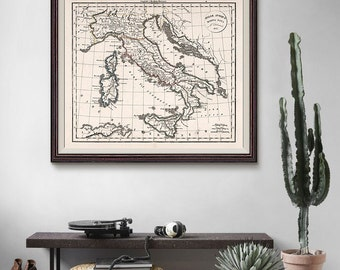 Italy Old Map 1825, Italy Map, Italy Antique Map, Sicily Italy, Vintage Decor, Antique Map- CP087