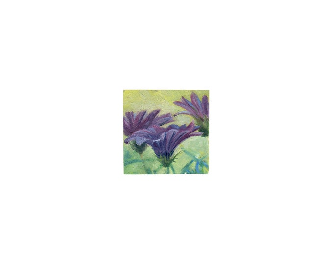 """Print of miniature painting of Purple Flowers. 1 1/4"""" x 1 1/4"""" print of original Flowers painting on 5"""" square german etching paper"""