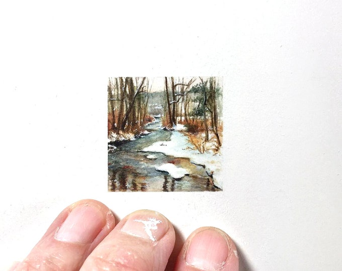 """Print of miniature painting of winter stream.  1 1/4"""" x 1 1/4"""" print of original winter woods painting on 5"""" square german etching paper"""