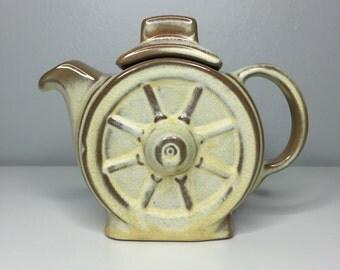 vintage mid century Frankoma Pottery wagon wheel teapot with lid Desert Sand 94J