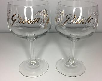 vintage wedding wine glass set by Culver Glass