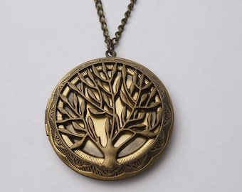Retro  Tree of Life Antique Bronze Locket Necklace Tree Locket Gift Tree of Life Necklace