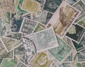 100 Vintage Used Postage Stamps