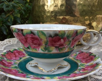 On Sale, Cup and Saucer by Chase, Hand Painted, Pink Rose, Rare Fine China, Rose Cup Saucer