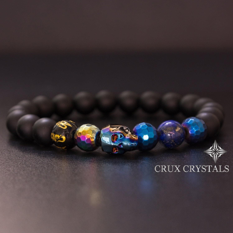 Crystal Bead Beads: Men's Blue Swarovski Crystal Skull Beaded Bracelet