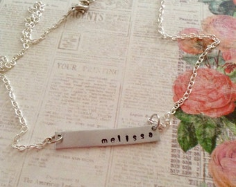 Custom Name, Name Necklace, Customized Necklace, Personalized Necklace, Bar Necklace, Silver Necklace, Hand Stamped, Metal Stamped