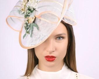 White Wedding hat, Wedding headpiece, Romantic hat, Tea party hat, wedding fascinator, Bridal hat, Bridal fascinator, white peach green hat