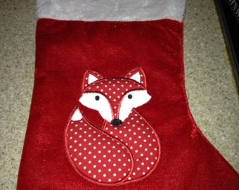 Personalised Spotted Fox Christmas Stocking (personalized)