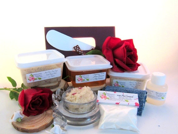 Natural Red Rose Petal Scrub Sugaring Wax Deluxe Starter Kit