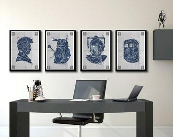 Dr Who 4 posters set, Minimalist tv poster set,  Dr Who prints set, Tardis, Cybermen, Dalek, Dr Who Gift wall decor, Home & Living