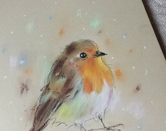Chubby Little Fellow - Robin -  Print - loose contemporary bird Pastel drawing whimsical art