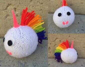 Hand Knit Unicorn, Unicorn, Knit Unicorn, Knit Animal, Toy Unicorn, Stuffed Animal, Stuffed Unicorn, Knitted Animal, Knitted Unicorn