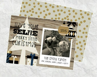 Personalized Holiday Card - Have Your SELFIE a merry little christmas - DIY Printable File - Quick Turnaround - blue accent