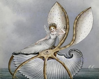 "Amelia J Murray ""A Fairy Resting on a Seashell"" 1800's  Reproduction Digital Print  Wall Decor Fantasy Fairy Elemental"