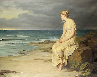 "John Waterhouse ""Miranda"" Woman Sitting on the Beach 1875 Reproduction Digital Print Vintage Print Wall Hanging"