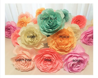 Crepe paper flower, 6 inch Crepe paper Rose, Large paper Rose, Huge paper flowers, Big paper flowers, Paper flowers in colors of your choice