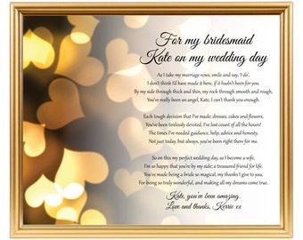 Bridesmaids poem keepsake gift - Gift to my bridesmaids - Wedding thank you - Bridesmaids - Personalized - Printed or JPG - 8x10 inch
