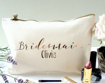 Personalised Bridesmaid Make up bag. Bridesmaid accessory bag. Maid of honour make up bag.