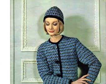 Women's Retro Cardigan & Hat Knitting Pattern from 60s