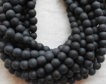 50 6mm Czech glass beads, druks, Matte Jet Black smooth round druk beads C4550