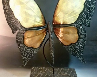Exceptional Handmade Metallic Butterfly Sculpture