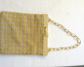 Vintage yellow beaded purse with bakelite clasp