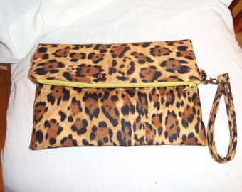 Cheetah Fold Over Wristlet, pouch, clutch, evening bag, purse
