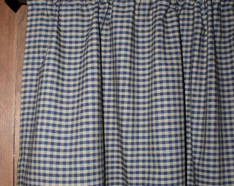 Navy U0026 Tan Check Homespun Valances Tiers Runners Country Curtains Kitchen  Home Cabin Valances Plaid Curtains