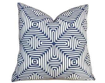 "Trina Turk Schumacher Amazing Maze Blue White Geometric Pillow Cushion Zipper Cover, Made to fit 18"" 20"" 22"" 24"" Inserts"