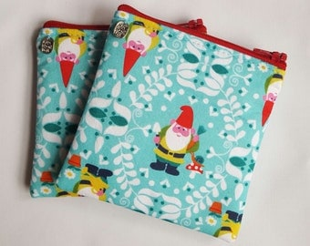 Handmade 'Gnome' Coin Purse in Turquoise Cotton Fabric