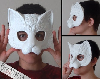 Stylized Cat Mask Blank, Kitty Masque, Cat Masquerade Mask, Resin Half Mask, DIY Blank Mask, Feline Renaissance Faire Mask, Cat Face Mask