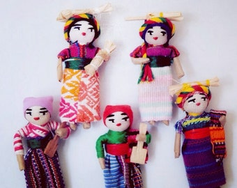 Magnet set of, Worry Dolls, Fabric magnets, colorful magnets, Doll magnets, Mexican Decor