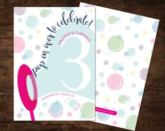 bubble birthday invitation, bubble invitation, bubble birthday party invitation, bubble party invitation, blowing bubbles birthday invite