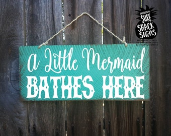 little mermaid decor, little mermaid sign, mermaid decoration, mermaid gift, little mermaid nursery decor, little mermaid bathroom sign, 212