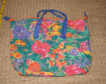 Vintage 1980's - Floral Zip Top Tote Bag Canvas