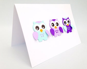 Paper handmade greeting cards ~ Purple owl ~ Greeting cards ~ Papercut cards ~ Owl birthday invitations ~ Owl Card