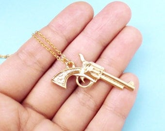 Big, Gun, Gold, Silver, Long, Chian, Necklace, Magnum, Layering, Necklace, Birthday, Best friends, Gift, Jewelry