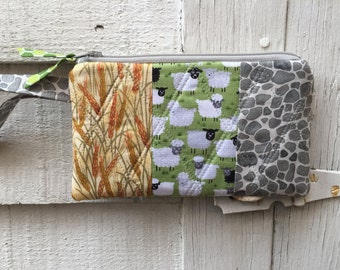 Wheat Sheep Ore Quilted Zipper Wristlet, Board Game Wristlet, Gamer Wallet, wristlet with strap, Sheep, Rock and Wheat!