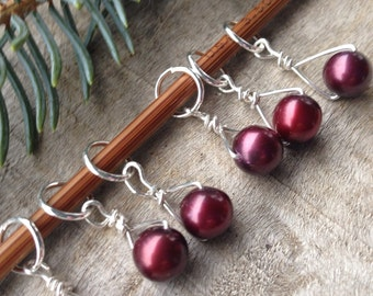 Merlot Freshwater Pearl & Sterling Silver Stitch Markers for Knitting,Set of 6,Knitting Notions, Gift for Knit