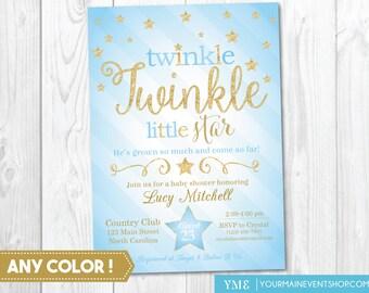 Twinkle Twinkle Little Star Baby Boy Shower Invitation, Twinkle Twinkle Shower Invitation, Blue and Gold Star Invitation, Boy Baby Shower