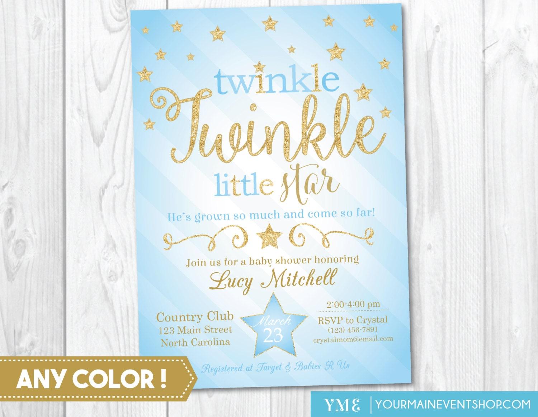 Twinkle Twinkle Little Star Baby Boy Shower Invitation, Twinkle ...