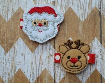 Santa and Rudolph hair clips, Christmas hair clippies, Christmas outfit, Christmas hair accessories, Santas Reindeer hair clips, toddler bow