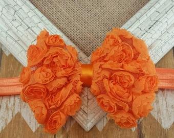 Orange Chiffon Flower Bow Headband,  orange bow headband, orange flower bow headband, orange headband, children's headband, girls headband