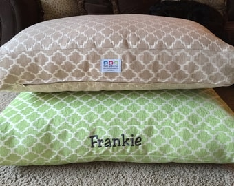 Personalized Dog Bed || Custom Green Small Medium Geometric Chenille Fabric || Pups Name || Custom Pillow * Embroider * TSD