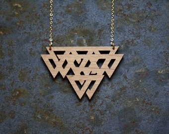 Celtic necklace, wooden geometric jewel, modern minimal, graphic jewelry long chain gold color, perfect present gift woman, made in France