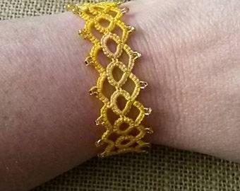 Needle Tatted Golden Bracelet