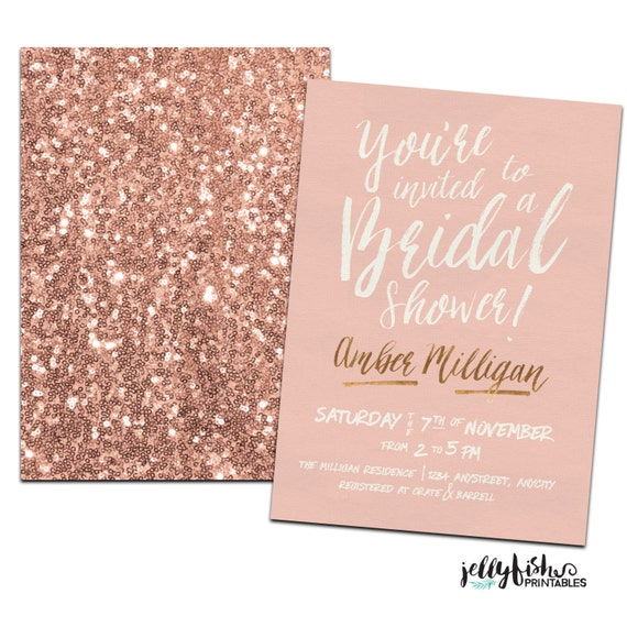 Rose Gold Bridal Shower Invitation Customized For You Diy On Bridal